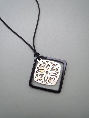 Square Black And White Floral Pendant