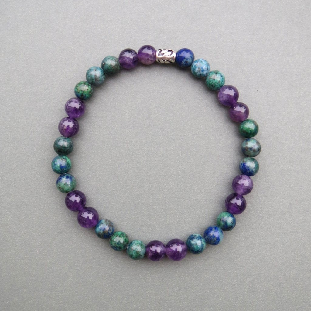 Amethyst and Chrysocolla Beaded Bracelet