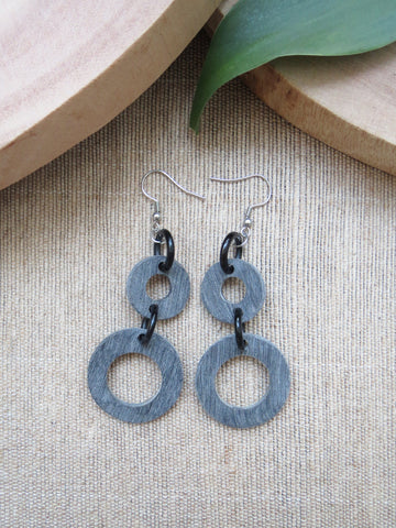 Matte Grey Round Dangle Earrings HE-038