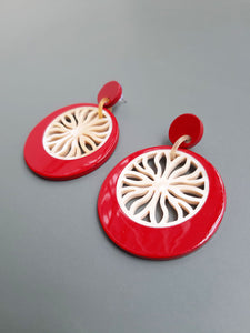 Red Lacquer Buffalo Horn Earrings