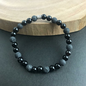 Black Onyx Lava Beaded Bracelet