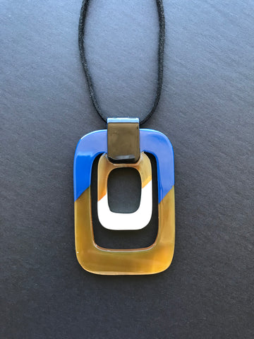 Blue Lacquered and Natural Buffalo Horn Pendant Necklace