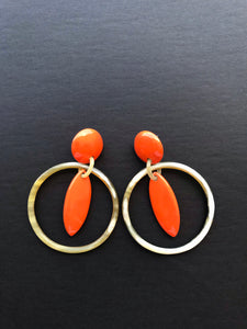Orange Lacquer Buffalo Horn Earrings