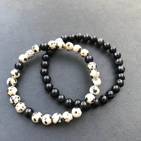 Dalmatian Jasper and Black Onyx Beaded Bracelet Set