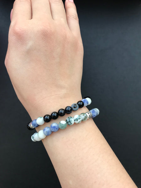 Agate and Black Sulemani Eye Beaded Bracelet Set