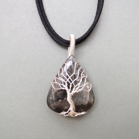 Tourmaline Quartz Tree Of Life Necklace - Sterling Silver