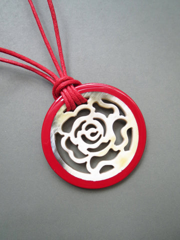 Red Lacquer Rose Pendant Necklace