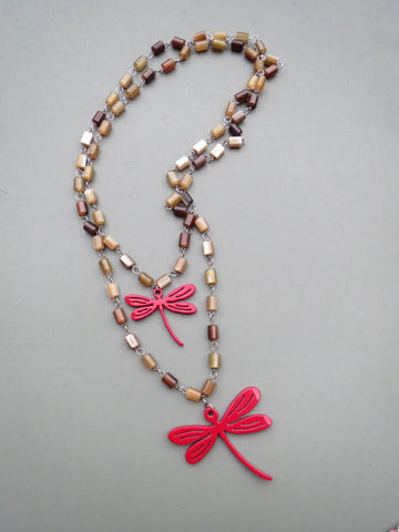 Red Dragonfly Layered Necklace