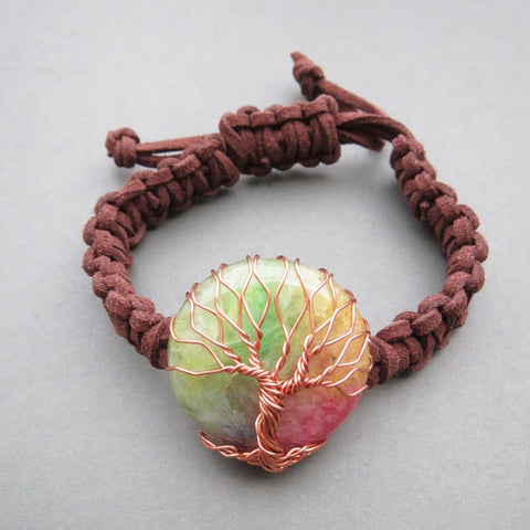 Rainbow Agate Tree Of Life Bracelet
