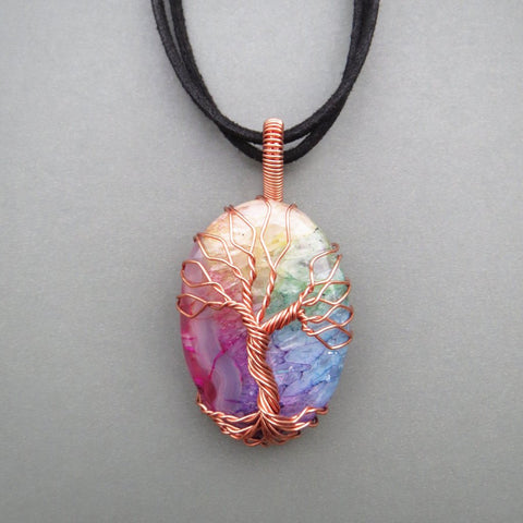 Rainbow Agate Tree Of Life Necklace