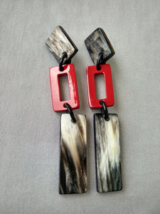 Black and Red Lacquer Rectangle Earrings