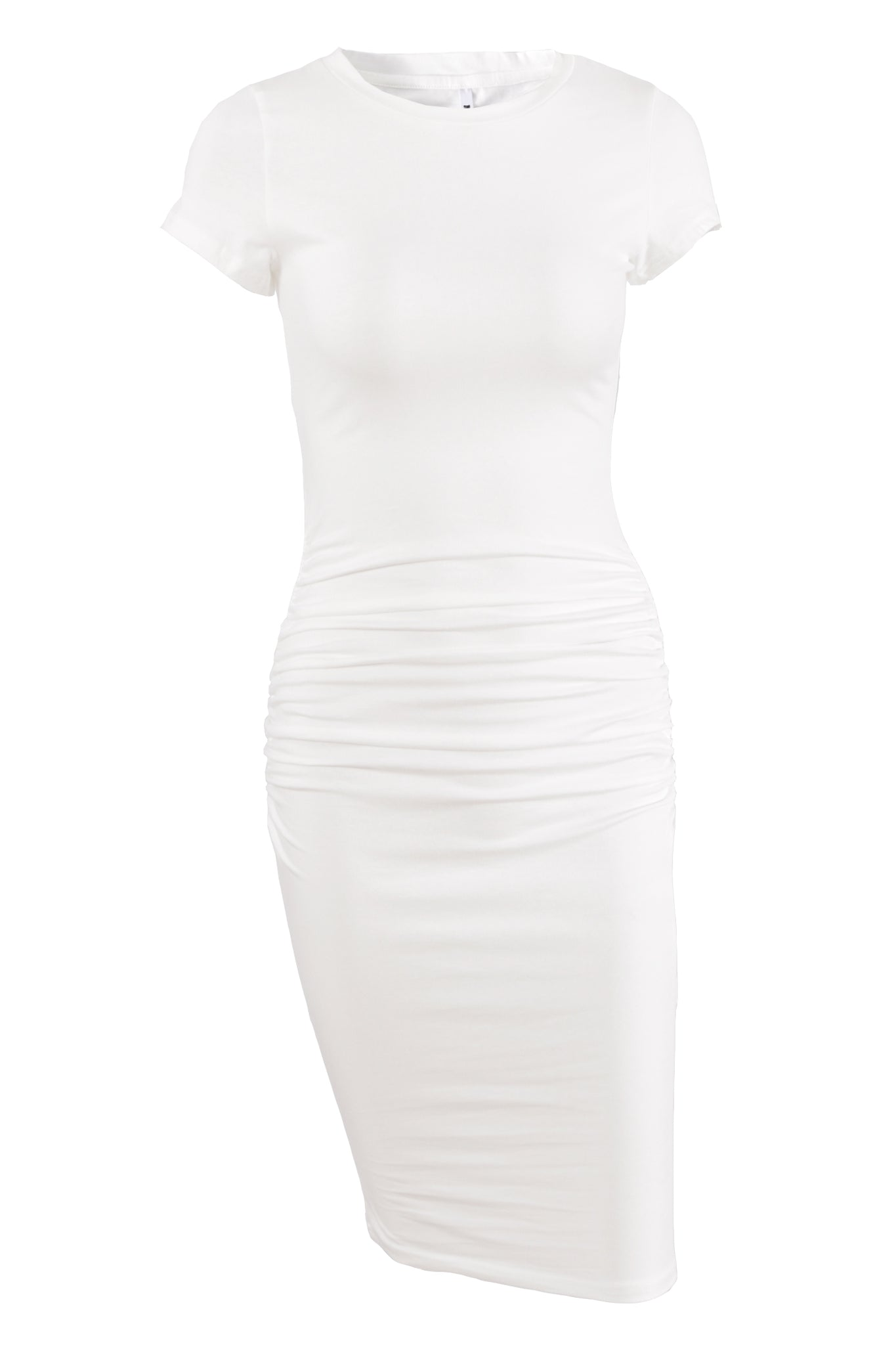 Missufe Short Sleeve Ruched Knee Length