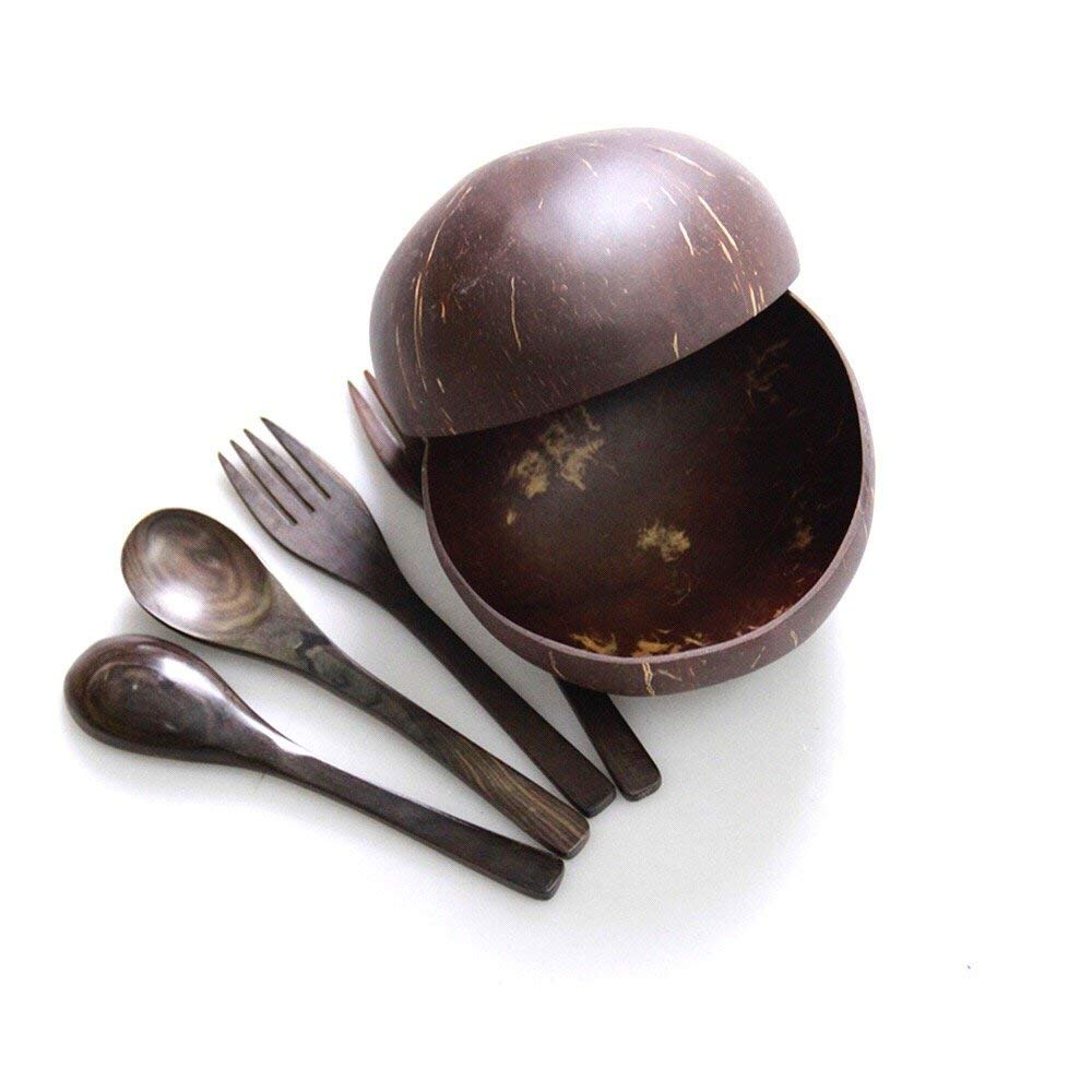 Polished Coconut Bowl with Spoon and Fork Set