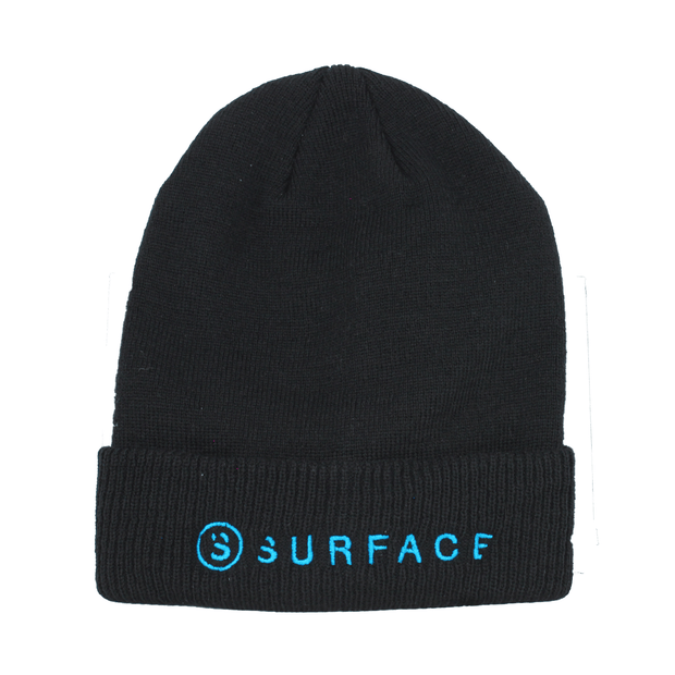 Side by Side Embroidered Beanie - Black