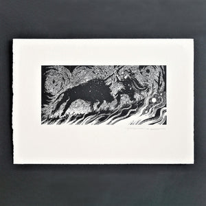 The Boar of Ben Gulbain Screenprint by David Rooney Unframed