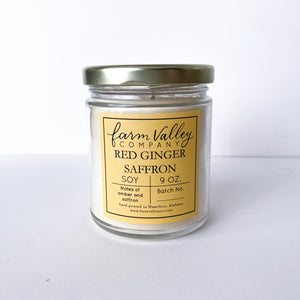"""Red Ginger Saffron"" Candle, 9 oz."