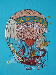 Flying Ship Embroidery Design