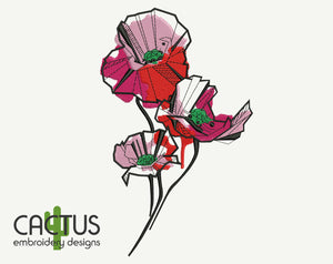 Abstract Poppies Embroidery Design