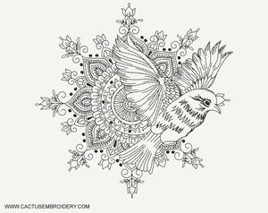 Bird and Mandala Machine Embroidery Design