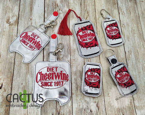 CW Diet Drink Set of Bookmark\Bag Tag, Eyelet Fob, Feltie, Snap Tab & Sanitizer Holder