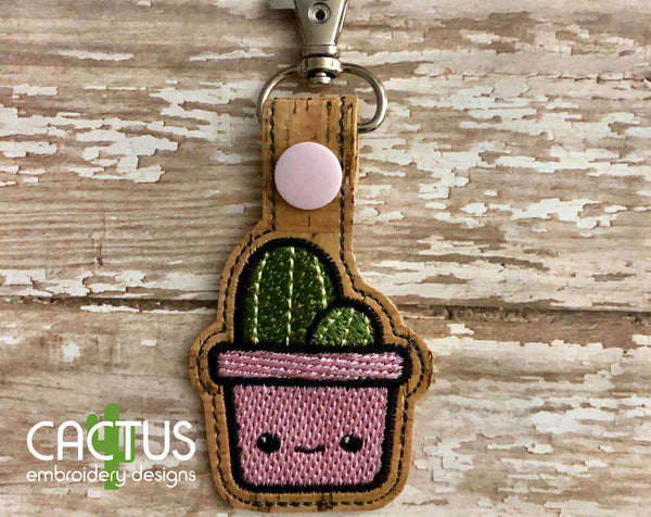 Cactus Snap Tab Machine Embroidery Design
