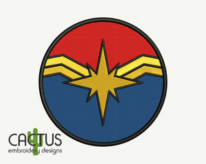 Captain Marvel Machine Embroidery Design