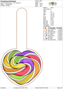 Caramel heart Snap Tab Machine Embroidery Design