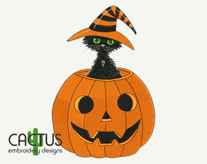 Cat & Jack o'Lantern Embroidery Design