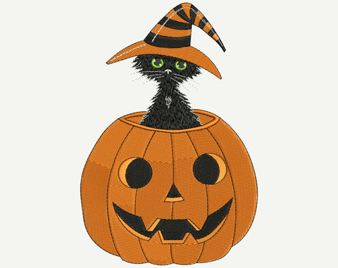 Black kitten in a witch hat hid in Halloween pumpkin Machine Embroidery Design