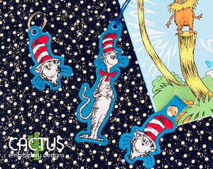 Cat in the Hat Bookmark \Bag Tag, Eyelet Fob,Snap Tab