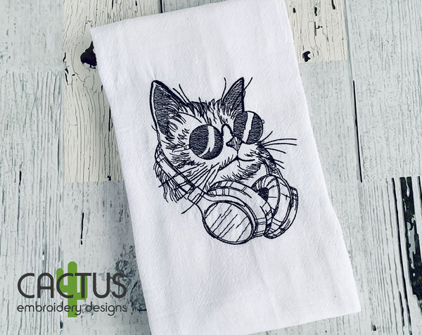 Cat with Headphones Embroidery Design