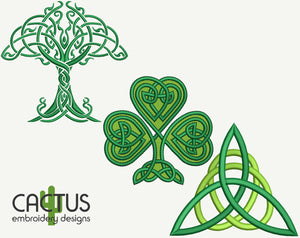 Celtic Set of 3 Green Shamrock, Triquetra & Tree Embroidery Designs