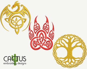 Celtic Set of 3 Golden Dragon, Bear Paw & Sacred Tree Embroidery Designs