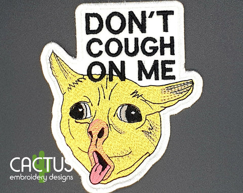 Coughing Cat Patch Embroidery Design & Sanitizer Holder