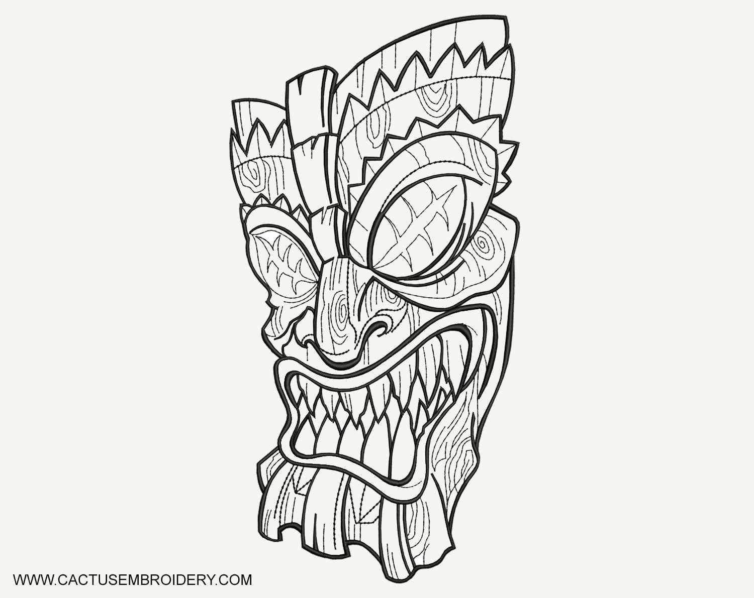 Creepy Polinesian Mask Machine Embroidery Design