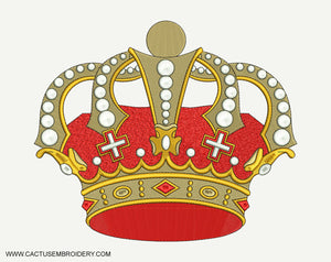 Red and Gold Crown Machine Embroidery Design