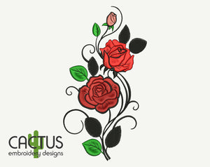 Curved Roses Embroidery Design