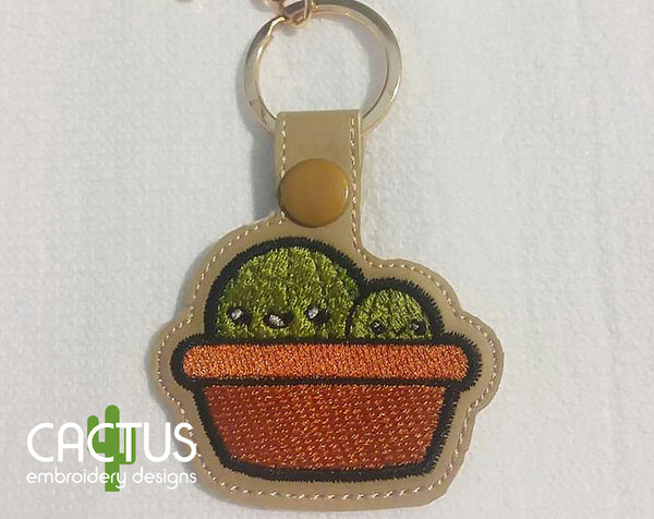 Cute Cactuses Snap Tab Machine Embroidery Design