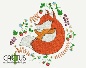 Cute Foxes Embroidery Design