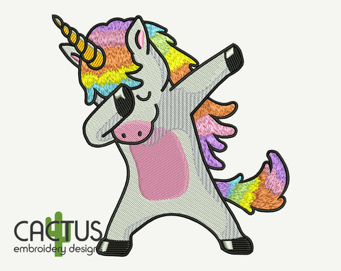 Dabbing Unicorn Embroidery Design