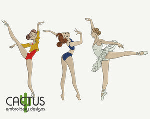 Dancing Girls Set of 3 Embroidery Designs