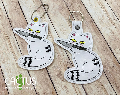 Dangerous Cat Snap Tab & Eyelet Fob