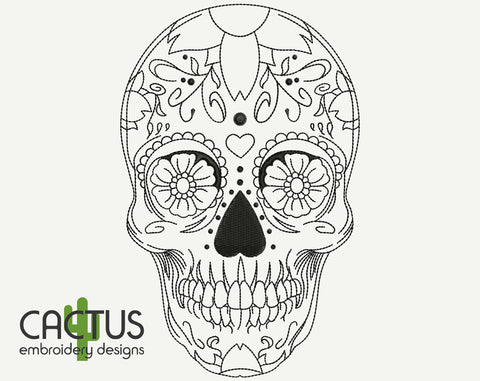 Day of the Dead Skull Embroidery Design