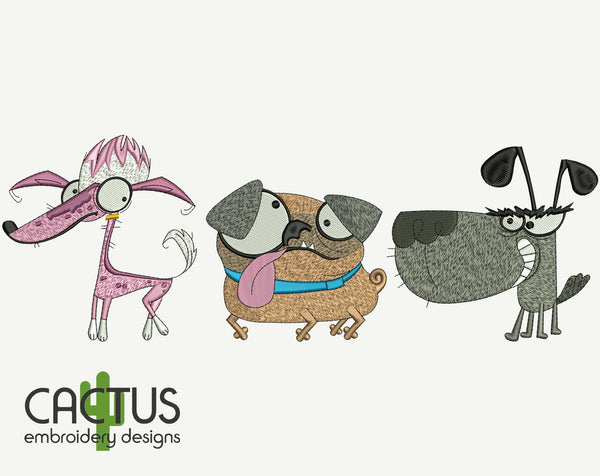 Dogs, Pug, Chinese Crested Dog Machine Embroidery Design