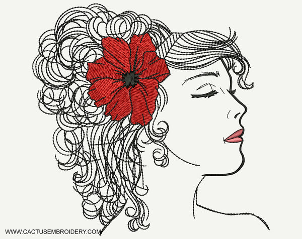 Dreamy Woman Embroidery Design