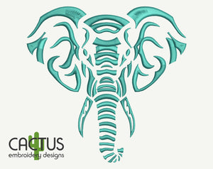 Elephant Head Machine Embroidery Design