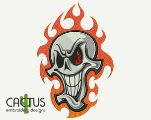 Fire Skull Embroidery Design