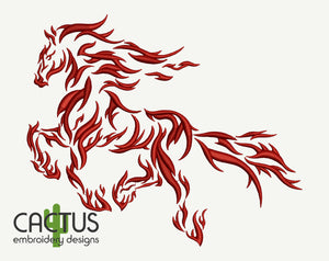 Fire Horse Embroidery Design