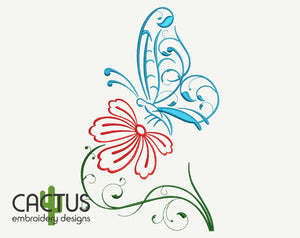 Flower & Butterfly Embroidery Design