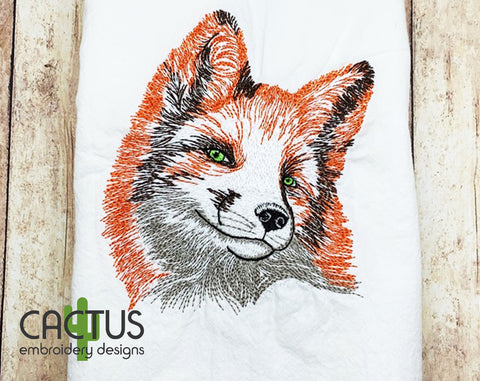Grinning Fox Embroidery Design